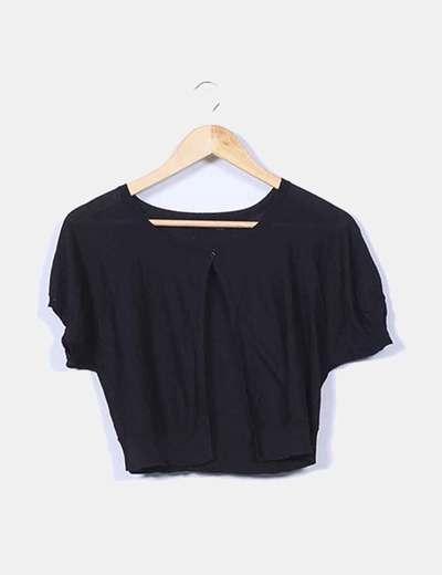 Chaqueta tricot negra manga corta Amitié