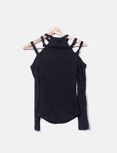 T-shirt noir à bandes NoName