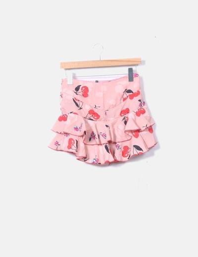 Falda rosa estampada volantes