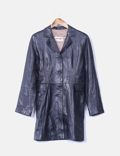 Ducson abrigo tres cuartos cuero negro descuento 99 for Chaqueta tres cuartos