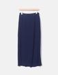 Falda maxi azul marino plisada con aberturas Love & Money