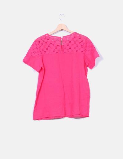 Blusa rosa guipur