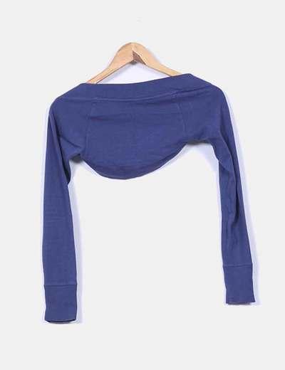Chaqueta torera tricot azul petroleo