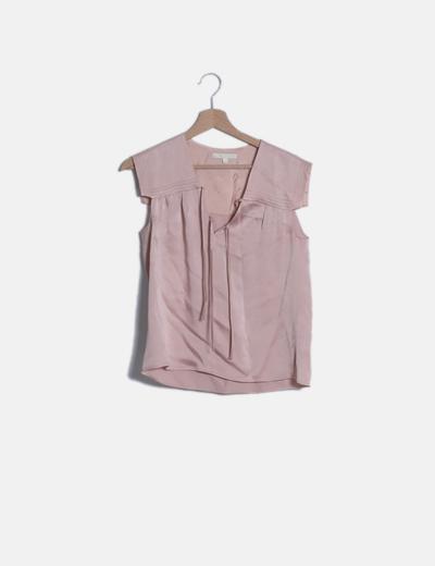 Camiseta satinada rosa