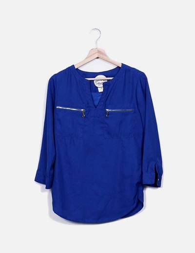 Blusa azul klein con cremalleras Almatrichi
