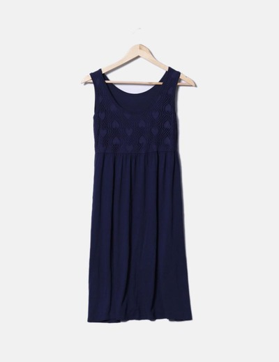Vestido crochet azul marino NoName