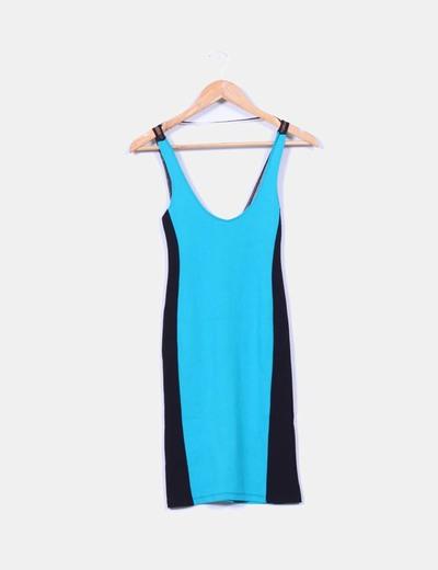 Vestido entallado bicolor combinado Pull&Bear