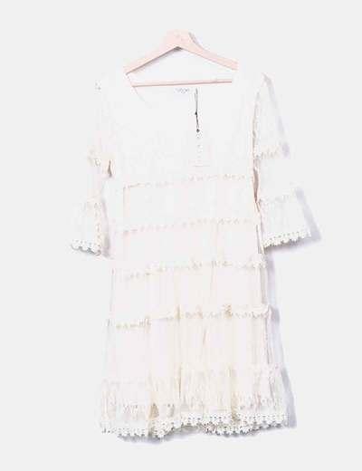 Beige crochet midi dress Cristina Paris