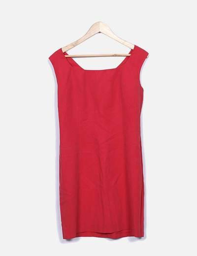 Vestido vermelho midi decote NoName