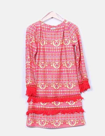 Vestido rojo estampado manga larga flecos
