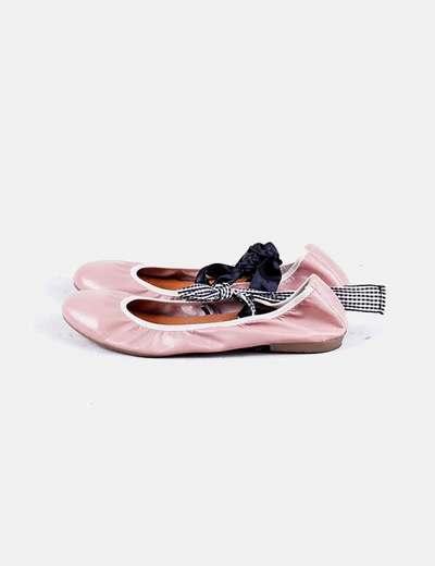 Bailarina rosa lace up