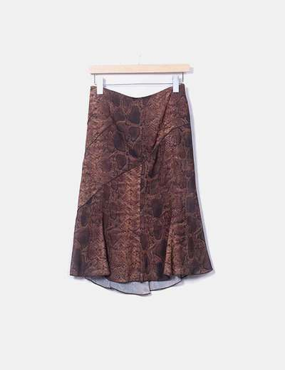 Brown animal print skirt Cortefiel