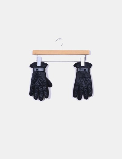 Guantes negros acolchados con cinta efecto piel NoName
