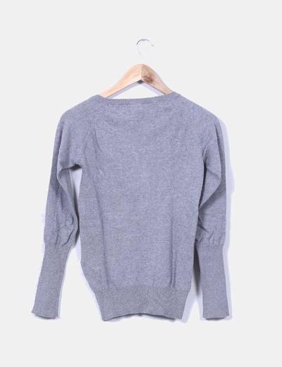 Jersey gris y fucsia cuello redondo