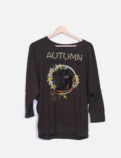Camiseta marron print NoName
