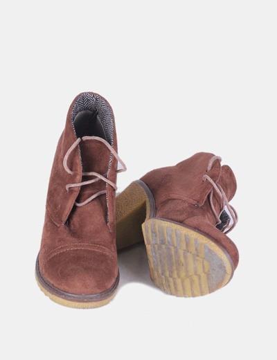 b35595632e932 Corina Botines de ante marrón con cordones (descuento 70%) - Micolet