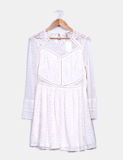 Vestido doll encaje marfil H&M