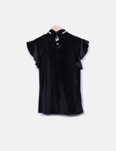 Camiseta negra terciopelo con strass