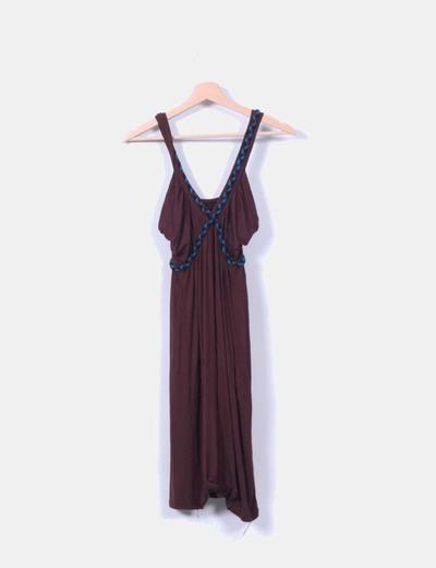 Vestido marrón trenzado NoName