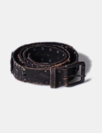 Cinturón de piel marrón oscuro con strass Zara