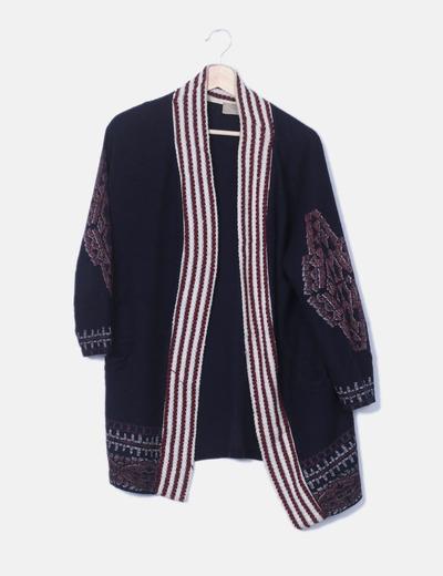 Kimono tricot azul marino combinado