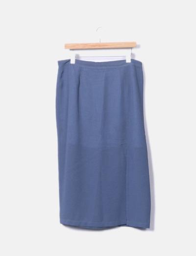 Traje azul de chaqueta y falda