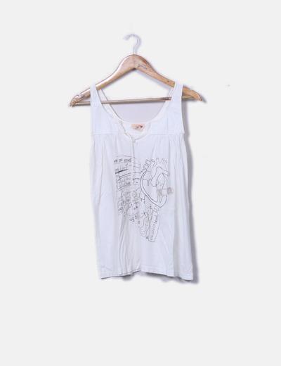 Camiseta tirantes  beige bordado dibujos