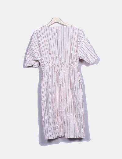 Y 47Micolet Zara Crudo Rayas Vestido Lazodescuento De Botones c1JKlF