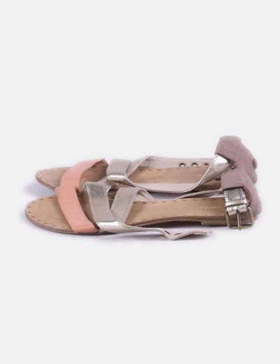 Sandalia plana combinado marrón Bershka