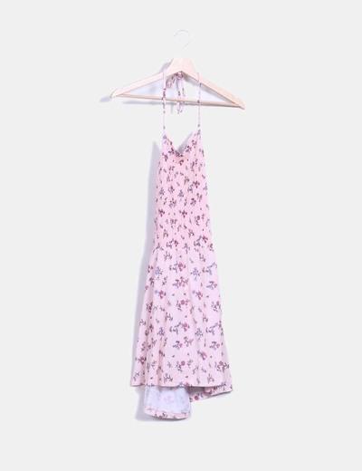 Vestido rosa floral halter nido de abeja Asos