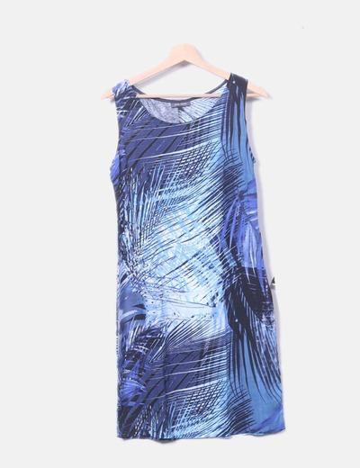 Vestido azul marino estampado