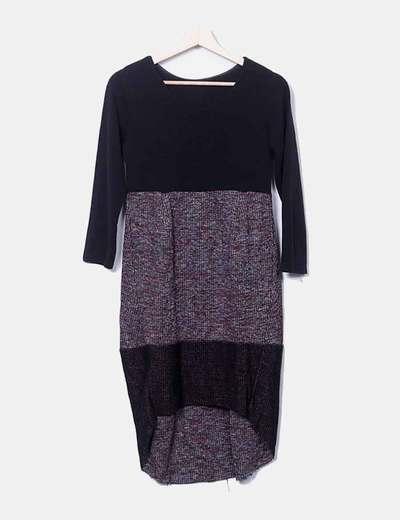 Vestido tricot combinado negro