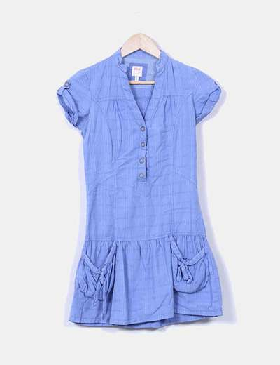 Vestido azul con volante manga corta Bershka