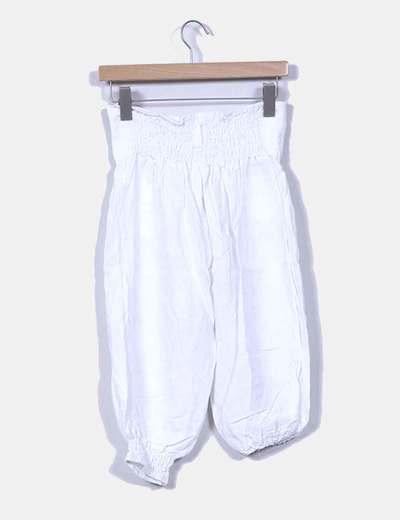 Pantalon de lino bombacho blanco