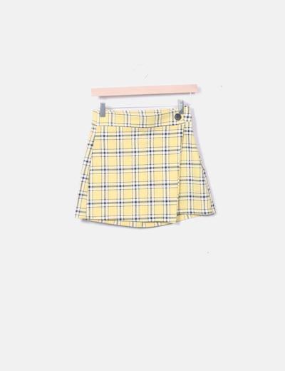 Falda amarilla de cuadros