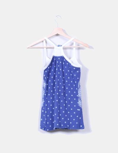 Camiseta azul canale estampado escote guipur blanco