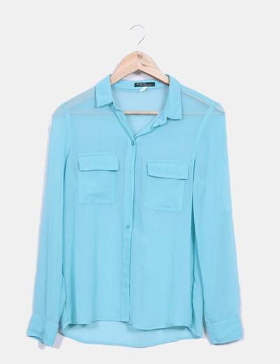 Camisa gasa azul turquesa