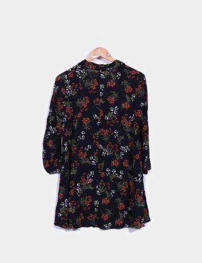 Vestido camisero negro floral