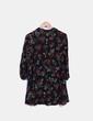 Robe-chemise noire à fleurs Zara