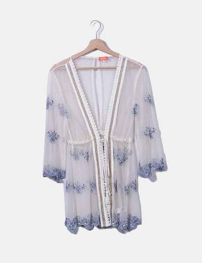 Kimono tul bordado