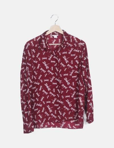 Camisa burdeos print libélula