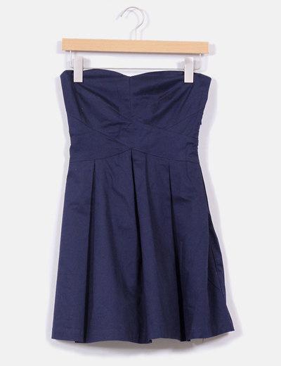 Vestido azul marino palabra de honor Bershka