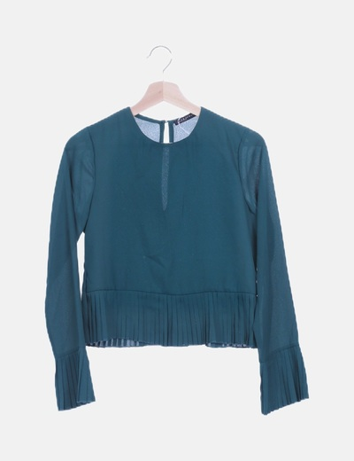 Blusa verde plisada