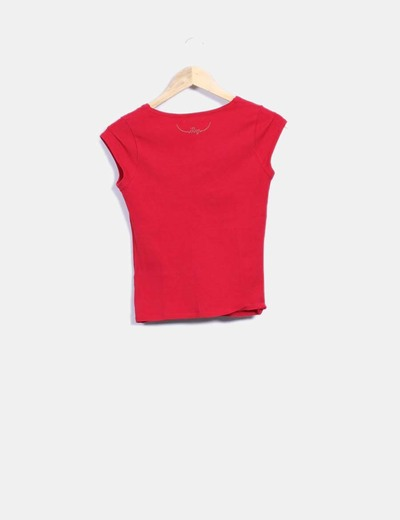 Camiseta roja escote redondo