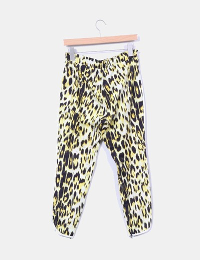 Pantalon baggy amarillo animal print
