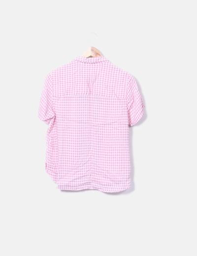 ebc0cc8cc1 Mango Camisa manga corta cuadros rosa (descuento 83%) - Micolet