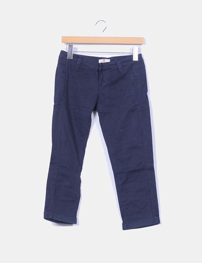 Pantalón pirata azul marino Pull&Bear