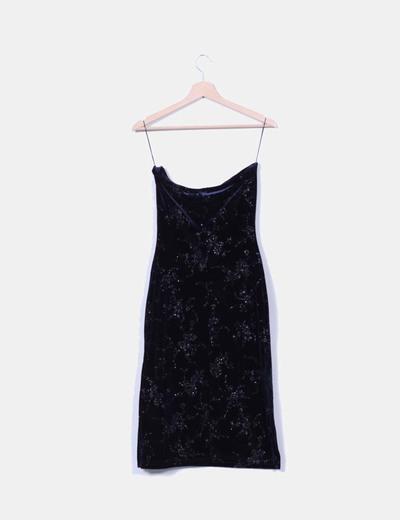 Maxi falda azul terciopelo con brillo