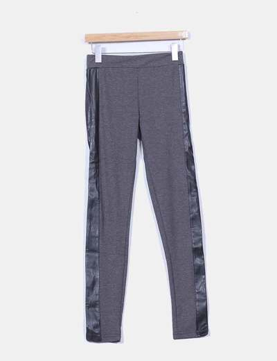 Leggings gris marengo combinado polipiel