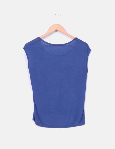 Blusa azul marino con estampado cachemira